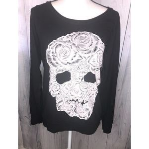 LAUREN MOSHI Floral Rose Skull Pullover Top Goth S